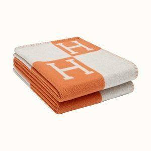 Large Cashmere Wool Monogram Throw Avalon Blanket